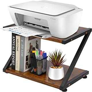 Hossejoy 打印机支架,2 层桌面打印机架,带防滑垫,适用于空间收纳架作为储物架,多功能木桌收纳架,适用于家庭和办公室(浅棕色)