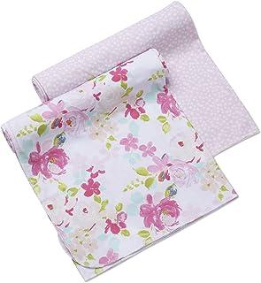 BreathableBaby Active 襁褓毯 & 包裹 2 件装 – 粉色花朵和粉色圆点,轻质优质运动服面料,47 x 47 英寸(约 119.4 x 119.3 厘米)超大多用途毛毯,62271-A