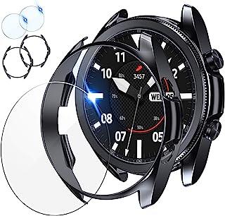 [2+2 件装] Tensea 兼容三星 Galaxy Watch 3 45 毫米屏幕保护膜和手机壳,2 件装钢化玻璃保护膜和 2 件装 TPU 手表盖配件套装,适用于 Galaxy Watch3 45,钛,41 毫米