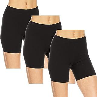 Essential Elements 3 件装:女式棉质弹力滑冰瑜伽锻炼内衣骑行短裤 XS-3XL