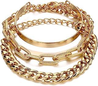 COLORFUL BLING 2-4 件/包镀金复古链手链套装适合女士女孩,厚实的古巴链竹链 O 形纸夹链手镯,堆叠优雅精致手链脚链
