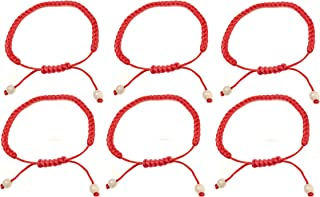 Kabbalah 红色细绳 6 件装 手链手工制作 Line 幸运爱链 Kabbalah 手链 繁荣和成功程度 可调节手镯 脚踝链保护 信仰中性款
