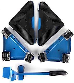 重型家具移动工具套装,5 件/套家具运输升降器家具升降器移动滚轮,带 180° 可调节撬杆,防滑,*大可达 400-500 千克,适用于床、书桌、沙发