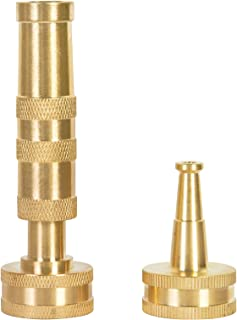 Yhmall 可调节花园高压软管喷嘴 - 4 英寸(约 10.2 厘米),重型实心黄铜水软管喷嘴喷头清扫机喷雾器,带 2 个软管橡胶垫圈,2 件装