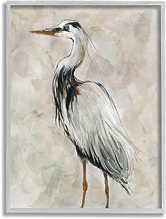 Stupell Industries Crane Bird Portrait Look Left 中性水彩画,由 Carol Robinson 灰色带框墙画,27.94 x 35.56 厘米,灰色