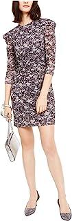 Michael Kors 迈克·科尔斯 女式蕾丝印花半袖闪亮紧身迷你连衣裙 黑色/银色