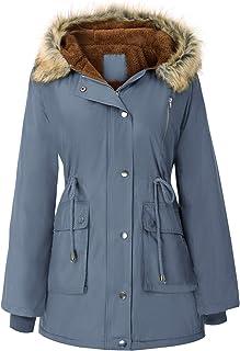 GRACE KARIN 女式连帽羊毛线大衣大衣人造毛皮夹克带口袋