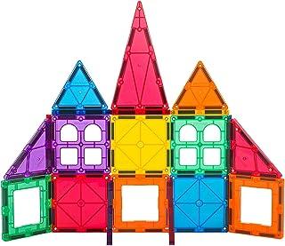 Playmags 32 + 6片磁力拼插套装:具有更强的磁性,坚固,耐用的生动的彩色砖片,6片Clickins配件可增强您的创造力