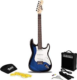 RockJam RJEG02 电吉他入门套件 - 包括功放、课程、表带、吉他包、拨片、Whammy、铅和备用弦。 - 蓝色爆裂