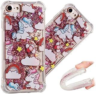 """LEECOCO 手机壳 iPhone 6 闪闪耀耀浮动水晶印花花朵 TPU 硅胶缓冲防震保护套外壳 iPhone 6 / 6S"""" 4.7 英寸 YB-LS Rainbow Unicorn"""