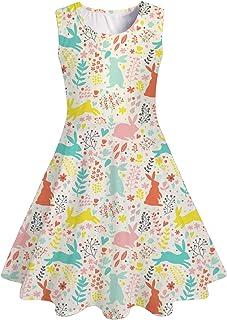 UNICOMIDEA 女孩无袖连衣裙彩色印花可爱束腰夏季摆裙幼儿休闲/派对太阳裙 4-13 岁