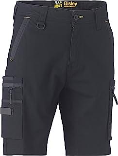 Bisley 工作服 UKBSHC1330_BBLK Flex & Move 弹力实用拉链工装短裤-黑色,38