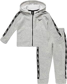 Reebok 锐步男孩 2 件套运动抓绒运动服套装,带拉链夹克和慢跑裤