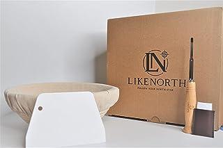 Banneton 面包烘焙篮套装 22.86 厘米圆形面包盒 适合生面包 带布内衬 塑料面团刮刀和面包车刀 适合家庭和专业面包师的礼物 5 个额外刀片