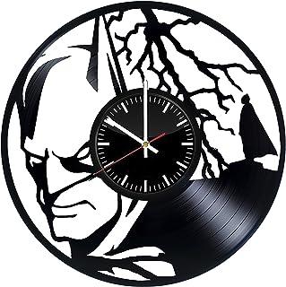 Welcome Everyday Arts 蝙蝠侠剪影乙烯基记录挂钟 - Get Unique Home 卧室墙饰 - 礼物创意 青少年、男童 - DC 漫画*英雄独特设计