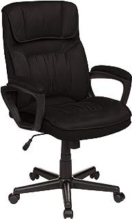 Amazon Basics 亚马逊倍思 经典办公桌电脑椅 – 可调节,可旋转,超柔软超细纤维 – 黑色,腰部支撑