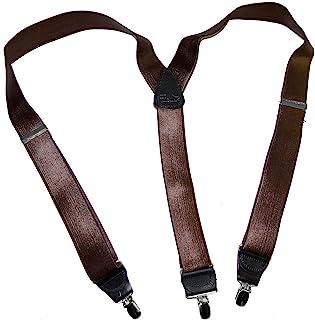Hold-Ups 核桃棕色缎面成品公司系列吊带 Y 型背带银色夹
