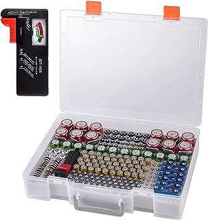 电池收纳盒- 电池存储盒盒带测试器检查器 BT-168。车库组织可容纳 225 节 AA AAA C D 电池 9V 3V 锂电池 LR44 CR2 CR1632 CR2032