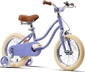Petimini 14 英寸 16 英寸儿童自行车 适合 3-6 岁女孩 带训练轮和前手刹,薄荷绿,玫瑰红,紫色