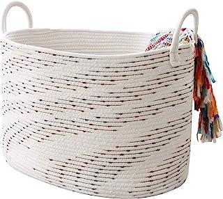LA JOLIE MUSE 大号棉质绳索储物篮,软编织洗衣篮,适用于毯子、玩具、衣服、装饰篮,适用于客厅储物,21 英寸(长)x 15 英寸(宽)x 13 英寸(高),椭圆形