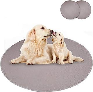 Mecaly 可重复使用狗狗*训练垫 - 可水洗防水垫带防滑适用于小猫 2 件装(48 圆形,咖啡)
