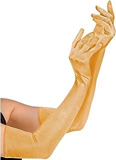 Widmann 34353 – 长款手套,含氨纶成分,金色,1 对,长度 60 厘米,配饰,20 年代,主题派对,嘉年华