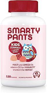 SmartyPants 儿童每日复合维生素樱桃浆果软糖:维生素C,D3和锌可提供抵抗能力,生物素,Omega 3 鱼油,维生素E,碘,维生素B6,甲基B12,120粒(30天供应)