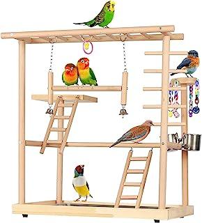 Echaprey 鸟游乐场长尾鹦鹉游乐场鹦鹉健身房游乐场天然木材双层宠物鸟栖息架带喂食碗梯