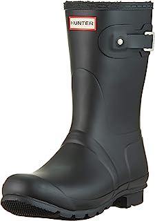 HUNTER Boots 女式原创保暖短雨靴 黑色 10 M 码 美国