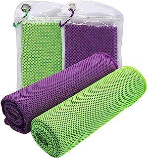 [2 件装] 冷却毛巾(101.6 厘米 x 30.5 厘米),冰运动毛巾柔软透气凉爽毛巾超细纤维毛巾,适用于瑜伽、运动、跑步、健身、锻炼、露营、健身、锻炼