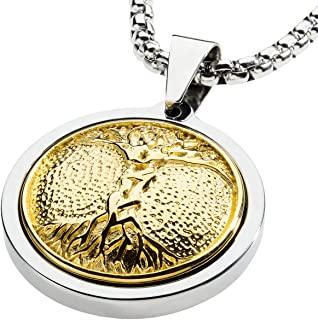 独特的钨金徽章项链。 不锈钢生命之树镶嵌 18kt 镀金。