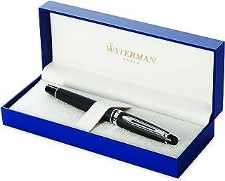 WATERMAN 威迪文 专家钢笔,磨砂黑,镀铬饰边,中号笔尖和蓝色墨盒,礼品盒