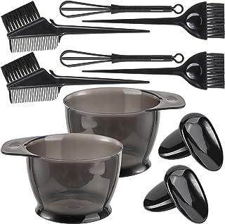 10 件专业*剂套件,适用于沙龙和家庭,混合碗,染色刷,耳帽,染料搅拌机(黑色)