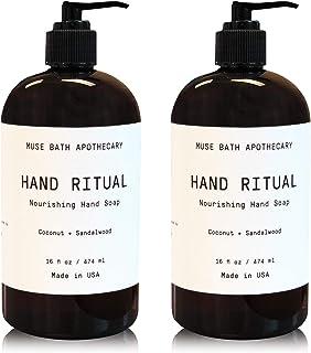 Muse Bath Apothecary 洗手液 - 芳香滋养洗手液,16 盎司,含天然精油 Coconut + Sandalwood 2 件装
