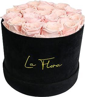 La Flora 玫瑰盒 | 能持续一年及以上的真玫瑰 | 鲜花 | 无限玫瑰 | 天鹅绒花盒 | 盒装新鲜玫瑰(大号圆形黑盒,浅粉色)