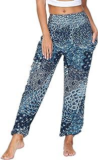 Lu's Chic 女式瑜伽裤嬉皮慢跑高腰哈伦长款波西米亚风带口袋