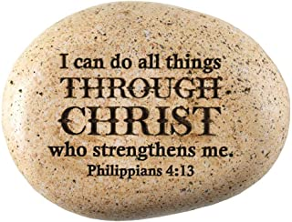 All Things Through Christ Philippians 4:13 地球色调3 x 3.5 树脂花园摇滚小雕像