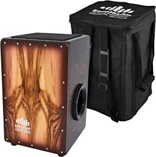 Echoslap 超低音卡箱,手工制作,8 根可调节响尾线,檀香前板,深低音,硬木主体 + 免费琴包
