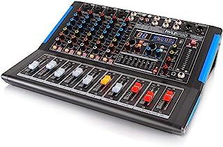 6 声道蓝牙录音室音频混音器 - DJ 声音控制器接口,带 USB 驱动器,适用于 PC 录音输入,XLR 麦克风插孔,48V 电源,输入/输出,适用于专业和初学者 - PMXU67BT