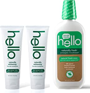 Hello Oral Care 天然*含氟牙膏双包装 + 天然清新*漱口水