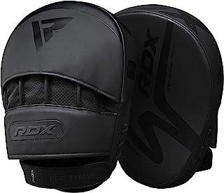 RDX 拳击垫弯曲 MMA 聚焦手套 Muay Thai 训练 - 哑光黑色凸面皮 带可调节鞋带 - 武术钩和锯齿目标护手罩