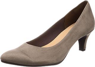 [一段舒适] 日本制造 6cm高跟浅口鞋 黑色 女士 绒面革 女士