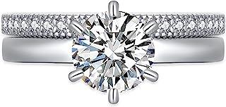 MABELLA 925 纯银圆形切割单颗锆石婚礼订婚戒指套装