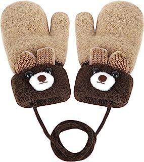 幼儿熊设计短款针织手套婴儿厚毛绒衬里连指手套