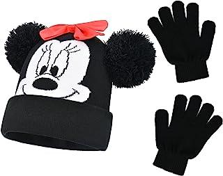 Concept One Disney Minnie Mouse 儿童双毛翻边无檐*帽和手套套装,黑色,均码