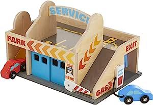 Melissa & Doug 服务站停车场 2辆木制汽车和快速洗车间