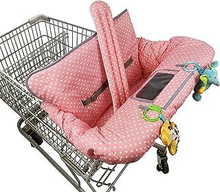 婴儿购物车罩,婴儿推车套,2 合 1 加厚高脚椅套,赠送分体式双面坐垫,手机袋,收藏袋,女孩粉色圆点,大号