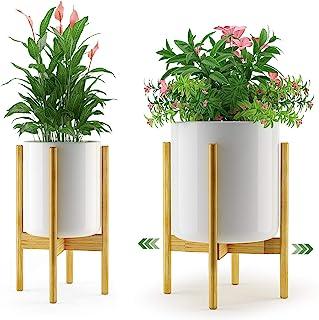 竹制植物支架花架 – Amada 室内中世纪现代花盆展示架,可调节 8 9 10 11 12 英寸(约 21.9 厘米) 适用于窗户室内植物、角落或地板