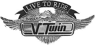 10.80 厘米 X 5.72 厘米 V Twin Vtwin Live To Ride Eagle 美国金属*章 Harley Sportster Sissy Bar 靠背 Davidson Bobber Chopper 徽标贴纸 摩托车青灰色铬