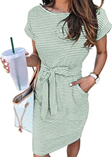 MEROKEETY 女式夏季条纹短袖 T 恤连衣裙休闲束腰带口袋